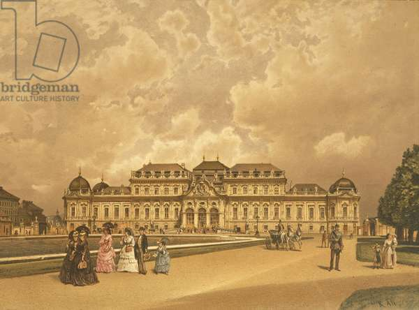 Austria, Vienna, Painting of The Belvedere Palace