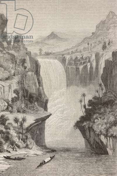 Great waterfall on Nile, known as Murchison, Uganda, drawing by Grandsire after sketch by Samuel Baker, drawing from Albert N'Yanza or Lake Albert by Samuel White Baker (1821-1893)