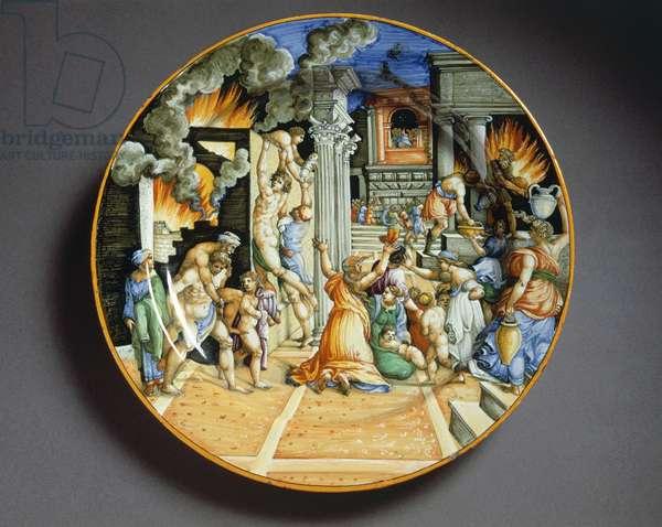 Plate depicting burning of Troy, majolica, Fontana workshop, Urbino, Marche, Italy, ca 1550
