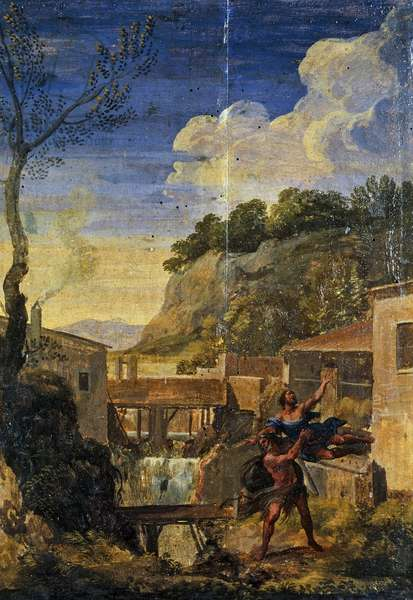 Countryside with Hercules and Antaeus (oil on canvas)