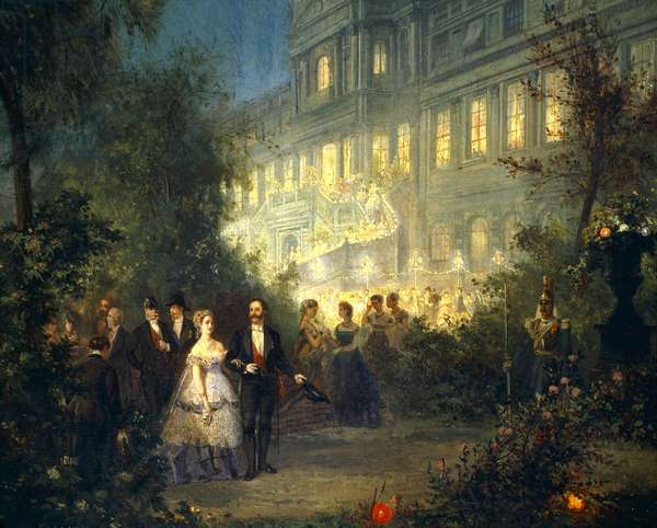 Night Festival at the Tuileries in Paris, June 10, 1867, by P T Van Elven, France 19th Century Detail