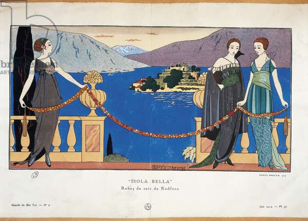 Fashion plate by Georges Barbier depicting ladies in Redfern evening dress and Borromean Isola Bella in the background Parisian haute couture journal Gazette du Bon Ton, 1914