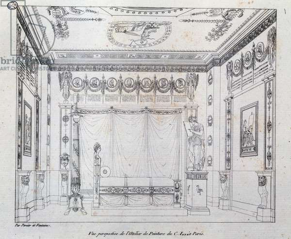 Painting Studio for CI, 1801, drawing from Recueil de decorations Interieures by Charles Percier (1764-1838) and Pierre Francois Leonard Fontaine (1762-1853), France,19th century