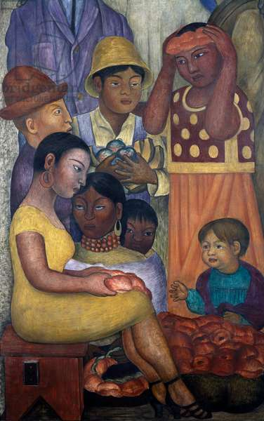 The union, 1928, by Diego Rivera (1886-1957), detail from the Ministry of Education frescoes (1923-1928), Mexico City. Mexico, 20th century.