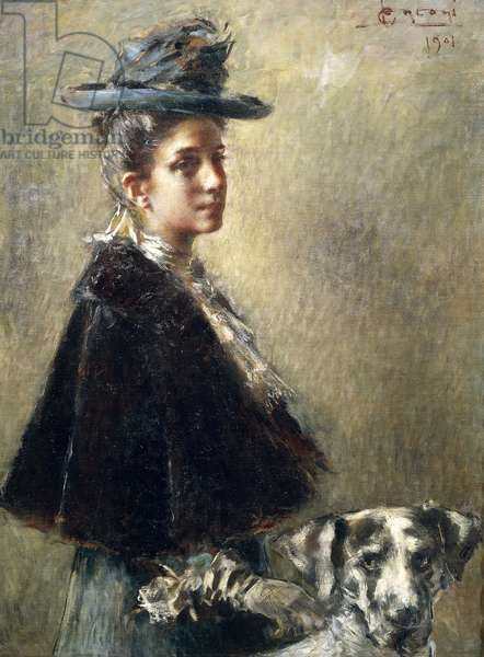 Portrait of Mrs Torelli or Lady with Dog, by Luigi Conconi, 1901, oil on canvas