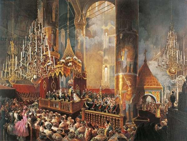 Coronation of Tsar Alexander II Romanov in 1856, colour lithograph, Russia, 19th century