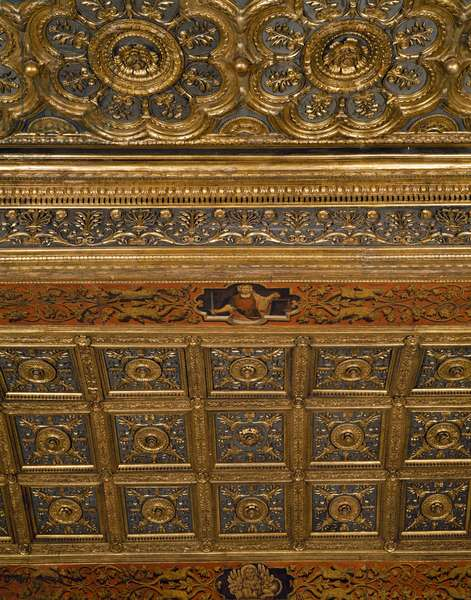 Coffered ceiling, Scarlet Chamber, Doge's Palace, Venice. Italy, 16th century. Detail.