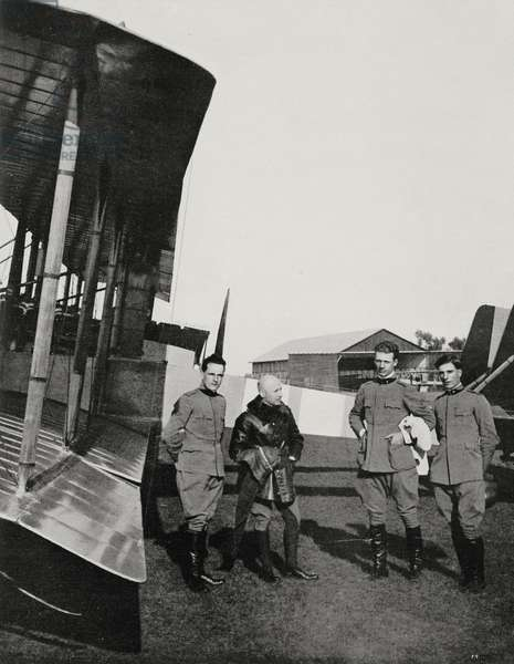 Gabriele D'Annunzio with Luigi Gori, Maurizio Pagliano and GB Pratesi, members of the raid on Pola in August 1917, World War I, from L'Illustrazione Italiana, Year XLIV, No 32, August 12, 1917