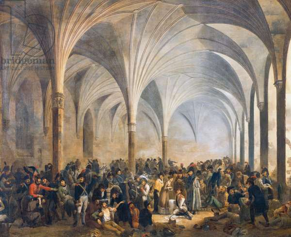 French and the Russian military hospital in Marienburg in June 1807, 1808, painting by Adolphe Eugene Gabriel Roehn, oil on canvas, 128x157 cm