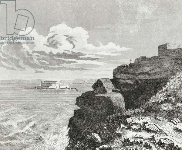 Chateaubriand monument, Grant Bey, Saint Malo, France, engraving from L'album, giornale letterario e di belle arti, August 5, 1843, Year 10