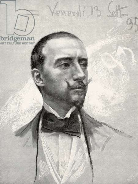 Portrait of Gabriele D'Annunzio (1863-1938) Italian poet, writer and playwright, pastel by Francesco Paolo Michetti, from L'Illustrazione Italiana, Year XXII, No 42, October 20, 1895
