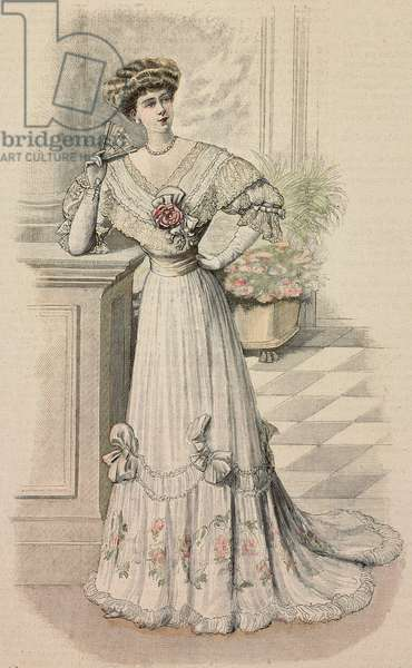 Woman wearing meeting dress in white silk muslin and Pompadour muslin, V-shaped corset, lace decorations, creation by Madame Louise, colored engraving from La Mode Illustree, No 31, August 4, 1907