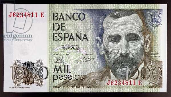1000 pesetas banknote, 1978, obverse, Benito Perez Galdos (1843-1920), Spain, 20th century