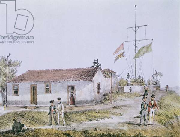 The Telegraph Office, by Bertichem, Brazil 19th Century Engraving
