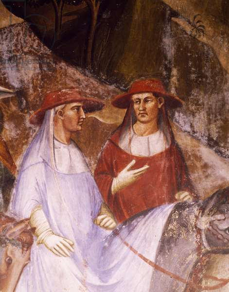 Alexander brought back to Rome by the Emperor and the Doge Ziani, detail from the Stories of Alexander III, 1407-1408, fresco by Spinello Aretino (1350 or 1352-1410), Public Palace (Palazzo Pubblico), Siena, Italy.