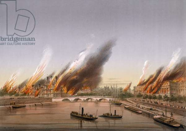 Gunboat Farcy anchored opposite Tuileries during burning of Paris, May 24, 1871, City of Paris, France, 20th century