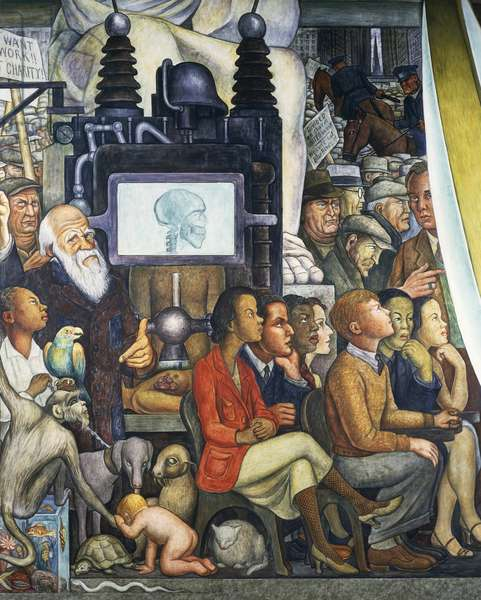 Charles Darwin, detail from Man at the crossroads, looking with hope and high vision to a new and better future, by Diego Rivera (1886-1957), fresco from the Palace of Fine Arts, Mexico City. Mexico, 20th century.
