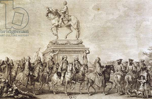 View of Louis XV's statue by sculptor Edme Bouchardon, 18th century