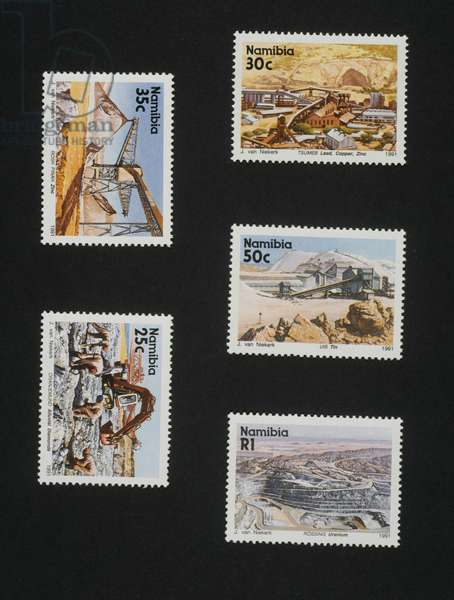 Postage stamps from Minerals and Mining series, 1991, depicting: Tsumeb mine (lead, copper and zinc), Rosh Pinah mine (zinc), Uis Mine (tin), Oranjemund mine (diamonds), Rossing mine (uranium), Namibia, 20th century