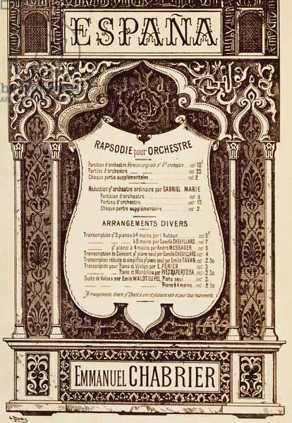 Title page of Espana Rhapsody for Orchestra, by Emmanuel Chabrier (1841-1894). Transcript by Camille Chevillard