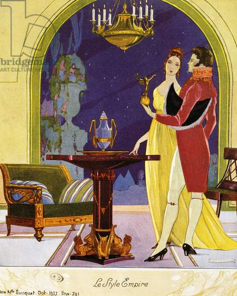Empire style scene, theatrical setting, watercolor, 1922 by Umberto Brunelleschi (1879-1949)