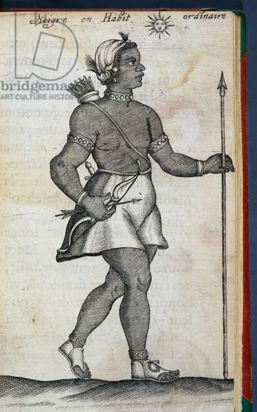 Native with bow, arrows and spear, engraving from Voyage to Libya, to Kingdom of Senegal, and banks of Niger, by Claude Jannequin, 1643, France, 17th century