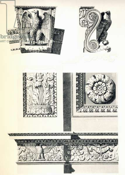 Decoration with eagles, rosettes and acanthus leaves for Arc de Triomphe du Carrousel, by Charles Percier (1764-1838) and Pierre Francois Leonard Fontaine (1762-1853), engraving by Louis Pierre Baltard (1764-1846), detail, France, 19th century