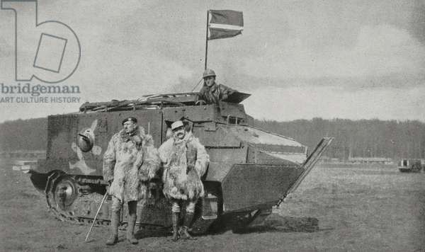 Commander Louis-Marie Bossut (1873-1917) and lieutenant Boucheron in front of their tank, Second Battle of Aisne, First World War, France, photograph from magazine L'Illustration, year 75, no 3872, May 19, 1917