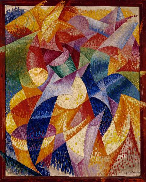 Dancer-Sea, 1914, by Gino Severini (1883-1966), oil on canvas, 105x86 cm, with the frame painted by the artist. Italy, 20th century.