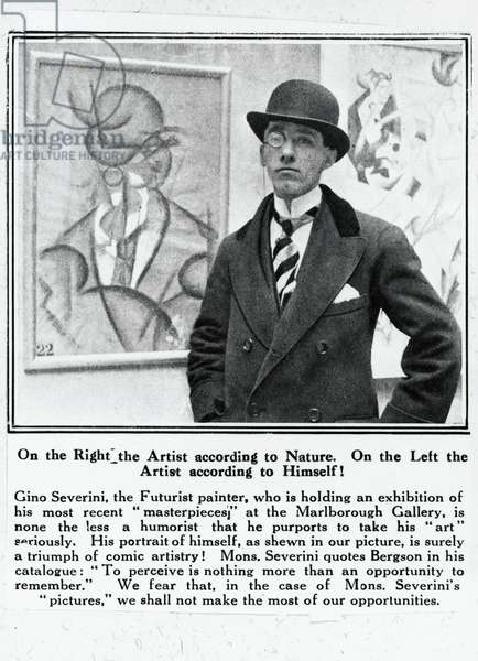 The Italian painter Gino Severini (Cortona, 1883-Paris, 1966), picture from The Oulokeer, London, April 26, 1913. Italy, 20th century.