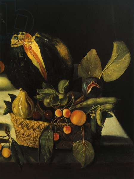 Still life with flowers and fruit, by Master of the Hartford Still Life, c.1600-10 (oil on canvas) (detail of 507174)