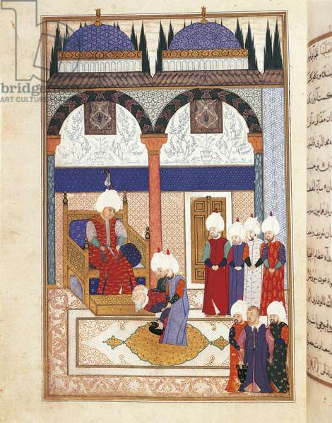 Miniature depicting a Christian prisoner before Sultan Suleiman the Magnificent (1495-1566) after the surrender of the Szigetvar Fortress, Hungary, 1566, manuscript, Turkey, 16th century