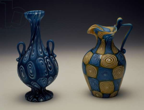 Murrine vase, ca 1900, Probably Ferro Toso and Co glassworks, Murrine pitcher, ca 1900, Probably Fratelli Toso glassworks, Murano, Italy, 20th century