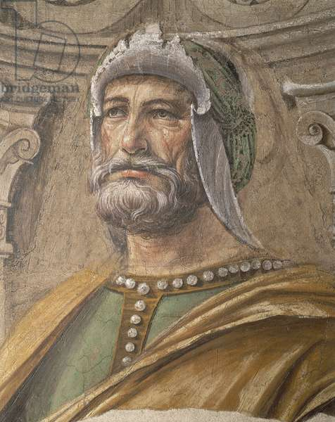 Face of man, detail from the Army Men, 1481, by Donato Bramante (1444-1514), fresco transferred to canvas, 90x113 cm