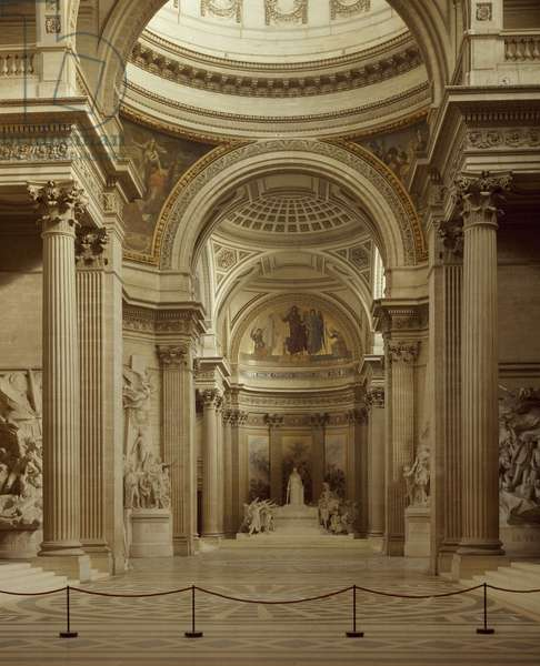 Interior of Pantheon in Paris, by architect Jacques-Germain Soufflot. France, 18th century.