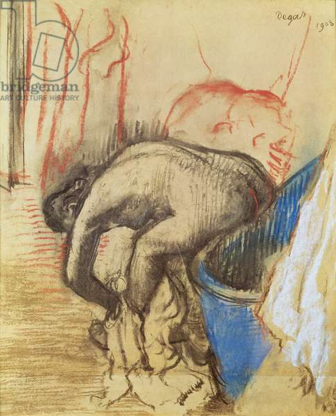 Woman drying her left leg, 1903 (charcoal & pastel on paper)