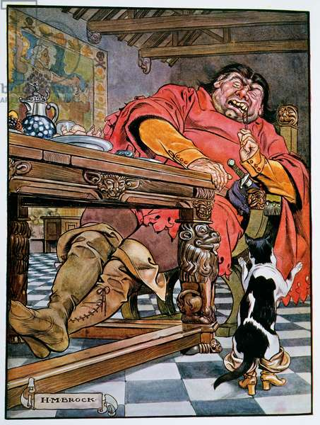 Puss in Boots and the ogre, illustration for Puss in Boots (Le Chat Botte), by Charles Perrault (1628-1703), from The book of fairy tales