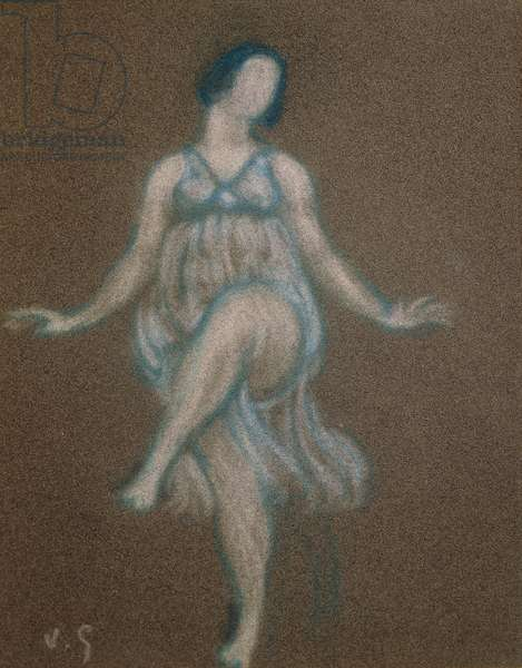 Portrait of American dancer Isadora Duncan, 1913 (pastel on paper)