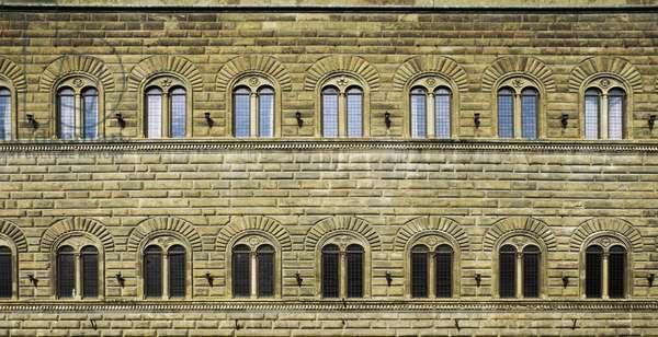 Facade with two-mullioned windows, Palazzo Strozzi Alinari (15th-16th century), Via de' Tornabuoni, Florence (UNESCO World Heritage Site, 1982), Tuscany, Italy
