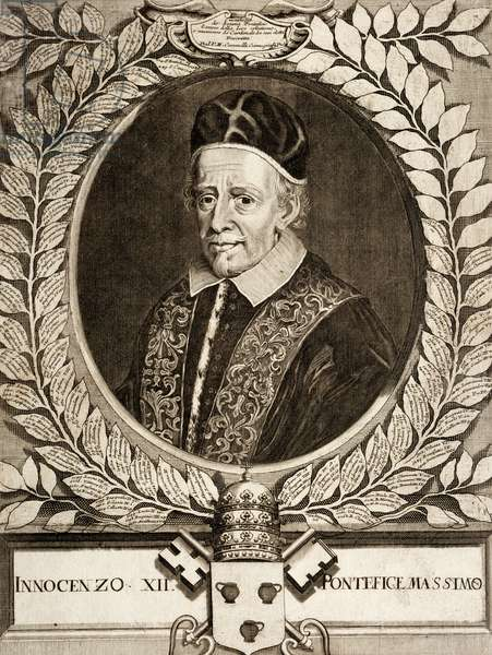 Portrait of Pope Innocent XII, born Antonio Pignatelli di Spinazzola (Spinazzola, 1615-Rome, 1700), pope from 1691, engraving. Italy, 17th century