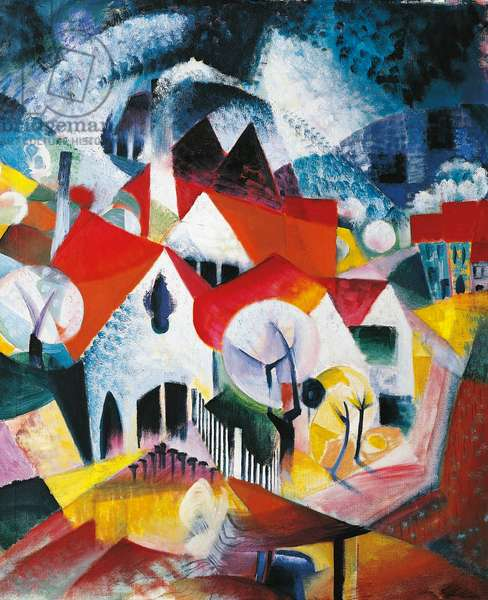Group of Houses in Spring, 1916 (oil on canvas)