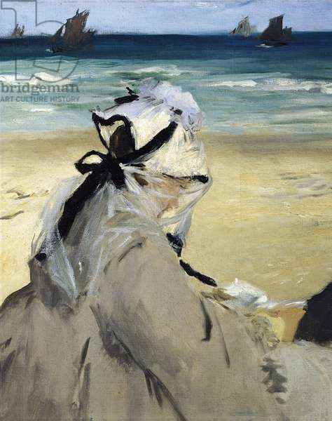 On the Beach, by Edouard Manet, detail, 1873, oil on canvas, 1832-1883, 60x73 cm