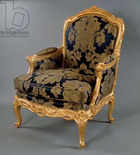 Louis XV style Second Empire (Napoleon III) gilt wood bergere, France, 19th century