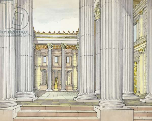 Reconstruction of Basilica of Pompeii, drawing, Roman civilization