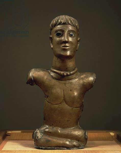 God of Bouray, bronze statuette of male bust, enamel painted eyes, from La Ferle Alois, Essonne