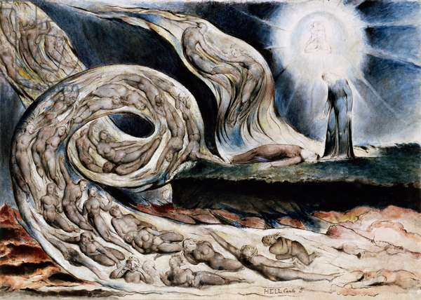 The circle of the lustful or The lovers' whirlwind, Francesca da Rimini and Paolo Malatesta, from Dante's Inferno, Canto V, 1824-27 (pen and ink and watercolor)