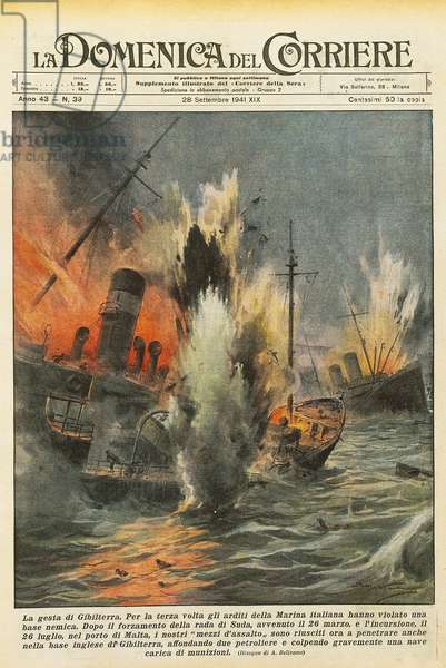 Italian navy assault craft during raid on military base in Gibraltar, by Achille Beltrame (1871-1945), illustration from La Domenica del Corriere, September 28, 1941