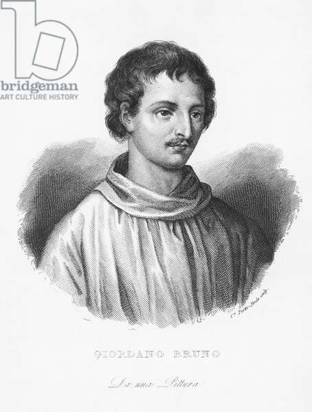 Portrait of Giordano Bruno (1548-1600), Italian Dominican friar, philosopher, and writer, engraving