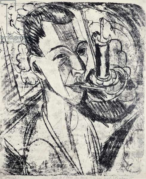 Self-Portrait with Cigarette, 1915, by Ernst Ludwig Kirchner (1880-1938), lithograph