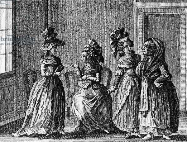 Illustration for Women's gossip, comedy by Carlo Goldoni (1707-1793), engraving, from Opere teatrali del sig avvocato Carlo Goldoni veneziano, published by Antonio Zatta e figli, 1791, Venice
